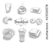 set of objects for breakfast 2 | Shutterstock .eps vector #415520578