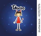 cartoon taurus girl on starry...   Shutterstock .eps vector #415527076