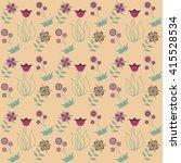 seamless floral pattern flowers ... | Shutterstock . vector #415528534