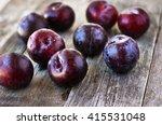 prunus domestica. ripe plums on ... | Shutterstock . vector #415531048