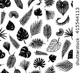 black and white palm leaves... | Shutterstock .eps vector #415544113