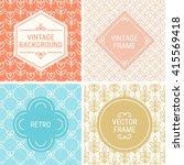 set of vintage frames in orange ... | Shutterstock .eps vector #415569418