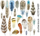 Watercolor Feathers. Ethnic...