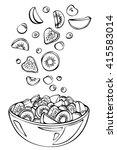 vector sketch of summer salad...