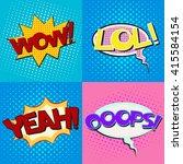 pop art speech bubbles set with ... | Shutterstock .eps vector #415584154