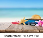 beach accessories for... | Shutterstock . vector #415595740