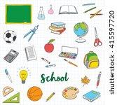 hand drawn school doodles | Shutterstock .eps vector #415597720