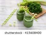 healthy green smoothie in a... | Shutterstock . vector #415608400
