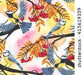 seamless tomtit and rowan   Shutterstock .eps vector #415619359