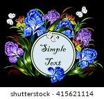 luxury bouquet of irises in... | Shutterstock .eps vector #415621114