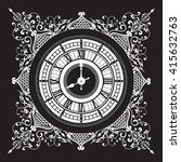 clock on the background of lace ...   Shutterstock .eps vector #415632763