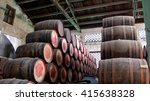 barrels for rum stacked in the... | Shutterstock . vector #415638328