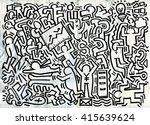 hipster hand drawn crazy doodle ... | Shutterstock .eps vector #415639624