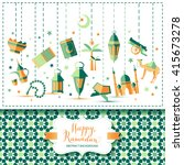 happy ramadan icons set of... | Shutterstock .eps vector #415673278