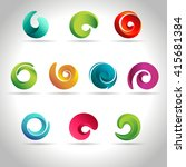 set of abstract swirl colorful