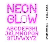 neon glow alphabet on white... | Shutterstock .eps vector #415685056