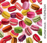 colorful french macaron cookies ... | Shutterstock .eps vector #415696264