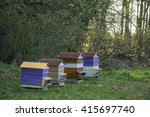 beehives in the apiary.... | Shutterstock . vector #415697740