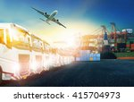 truck and cargo plane with... | Shutterstock . vector #415704973