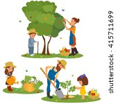 family farm harvests and... | Shutterstock .eps vector #415711699