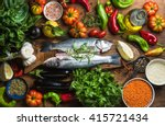 Raw Uncooked Seabass Fish With...