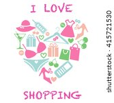 i love shopping icon. heart... | Shutterstock . vector #415721530
