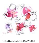 perfume bottles watercolor...   Shutterstock . vector #415723300