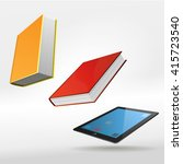stack of multi colored books.... | Shutterstock .eps vector #415723540