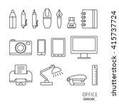 outline icon set. office...   Shutterstock .eps vector #415737724