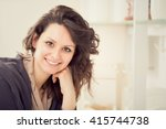 young smiling brunette woman in ... | Shutterstock . vector #415744738