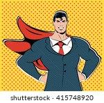 businessman superhero work... | Shutterstock .eps vector #415748920