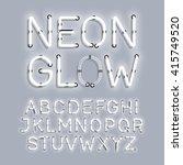 white neon glow alphabet vector ... | Shutterstock .eps vector #415749520