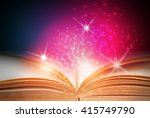 abstract magic book on wooden... | Shutterstock . vector #415749790