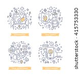 doodle of geo targeting ... | Shutterstock .eps vector #415753330