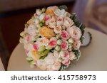 bridal bouquet in beige and...   Shutterstock . vector #415758973