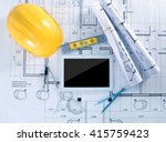 construction blueprints with... | Shutterstock . vector #415759423