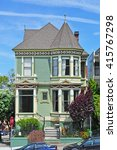 Small photo of San Francisco, California, Usa: close up of one of the Painted Ladies on 6 June 2010. The Painted Ladies are a row of colorful Victorian houses at 710-720 Steiner Street across from Alamo Square park