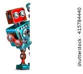 retro robot with blank banner.... | Shutterstock . vector #415784440