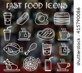 fast food icons set | Shutterstock .eps vector #415790086