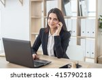 business woman with notebook in ... | Shutterstock . vector #415790218