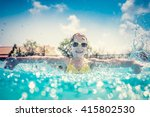child having fun in swimming... | Shutterstock . vector #415802530