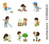 kids gardening collection of... | Shutterstock .eps vector #415806814