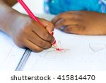 close up of african kid's hand... | Shutterstock . vector #415814470