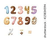 hand painted watercolor numbers ... | Shutterstock . vector #415834594