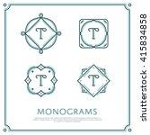 line letter t monogram. vector... | Shutterstock .eps vector #415834858