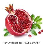 Pomegranate Fruit With Green...