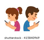 cartoon boy and girl using... | Shutterstock .eps vector #415840969