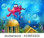 atlantis ruins cartoon octopus  ... | Shutterstock .eps vector #415853323