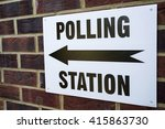 a sign outside a polling... | Shutterstock . vector #415863730