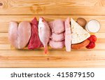 protein diet  raw products on... | Shutterstock . vector #415879150
